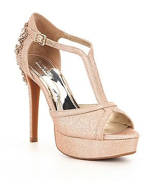Gianni Bini Laurito Glitter Jewel Ornament Platform Dress Sandals