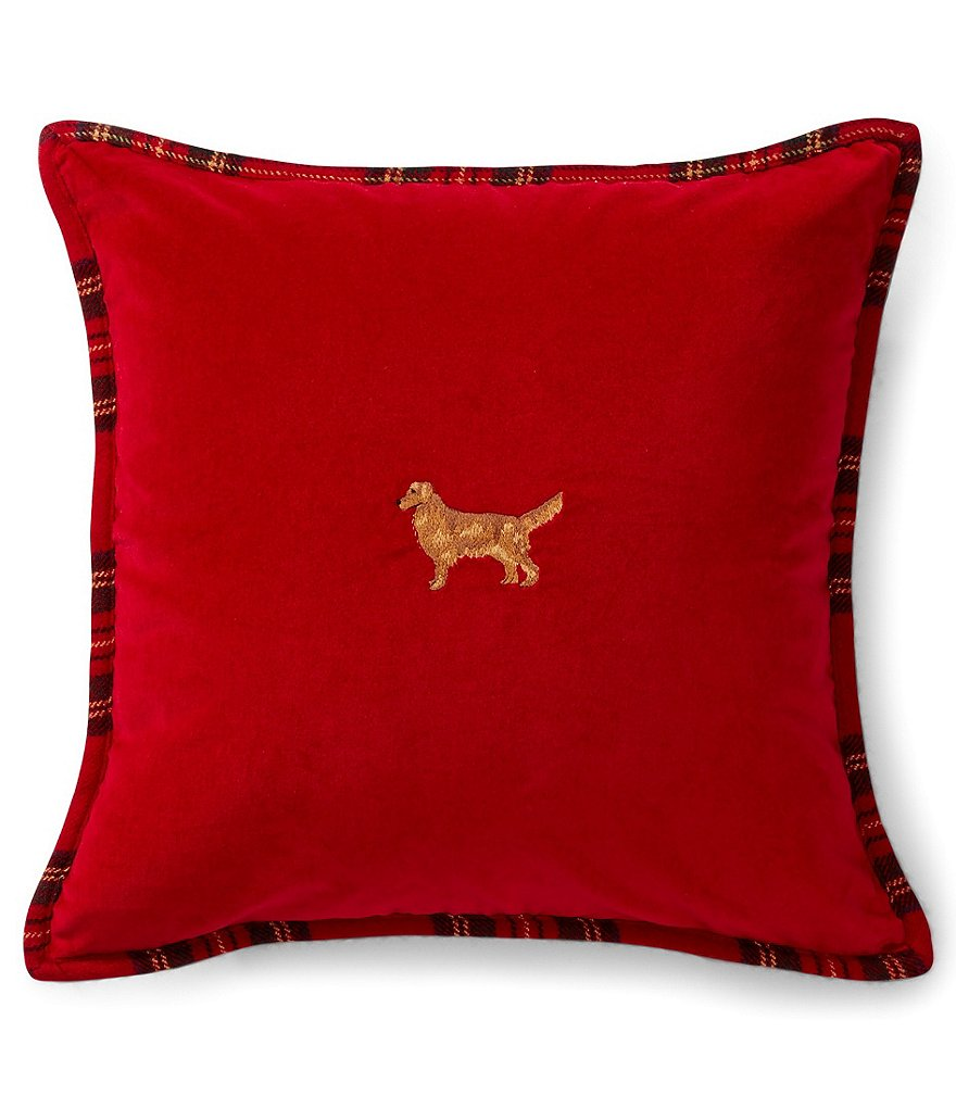 Ralph Lauren Cody Embroidered Golden Retriever Pillow