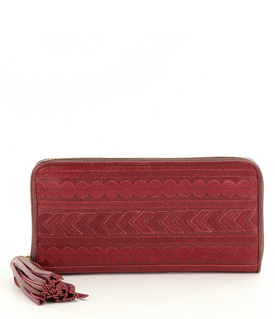 Fossil Emma RFID Tasseled Large Zip Clutch