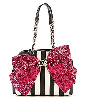 Betsey Johnson Bow-Lesque Sequined Striped Satchel