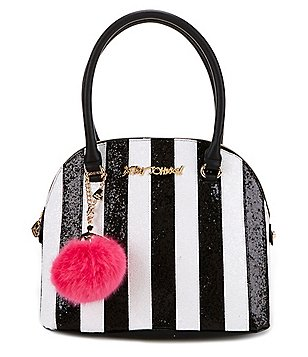 Betsey Johnson Candy Cane-Striped Dome Satchel with Faux-Fur Pom