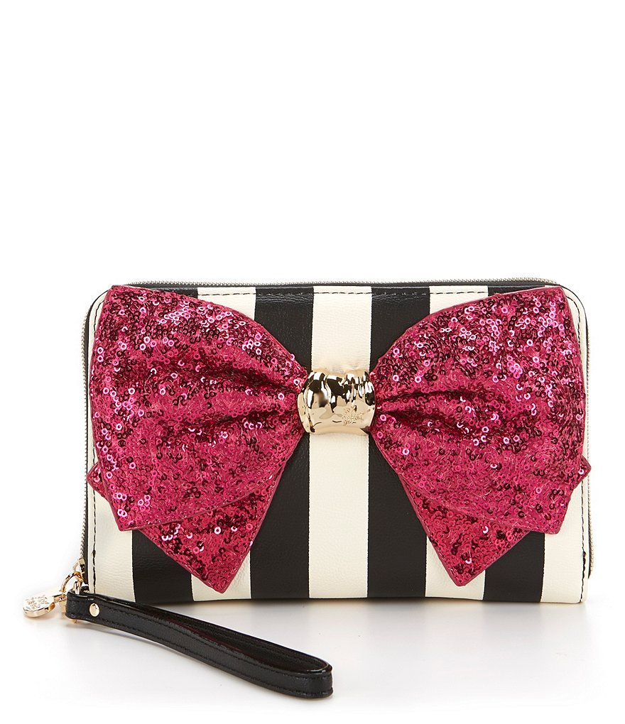 Betsey Johnson Bow-Lesque Striped Large Zip-Around Wallet