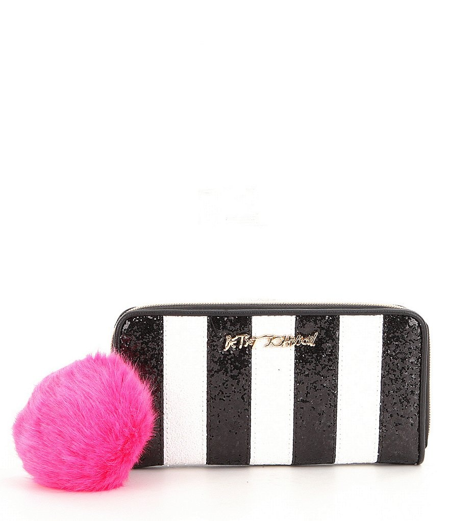 Betsey Johnson Candy Cane Zip-Around Wallet with Faux-Fur Pom