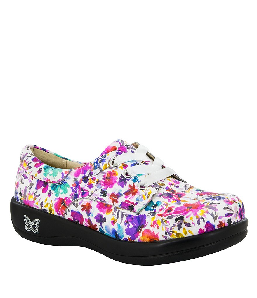 Alegria Kimi Floral-Print Leather Lace-Up Oxfords