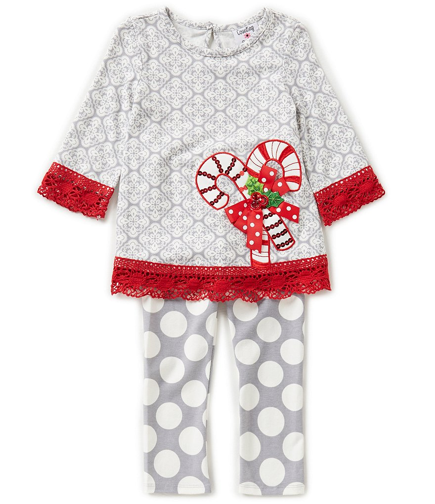 Counting Daisies Little Girls 2T-6X Christmas Candy Cane Top and Dotted Leggings Set