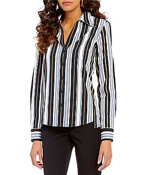 Investments Petite Gold Label Point Collar Long Sleeve Button Front Striped Shirt