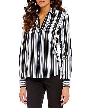 Investments Gold Label Point Collar Long Sleeve Button Front Striped Shirt
