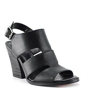 Reba Skyla Leather Caged Back Strap Block Heel Dress Sandals