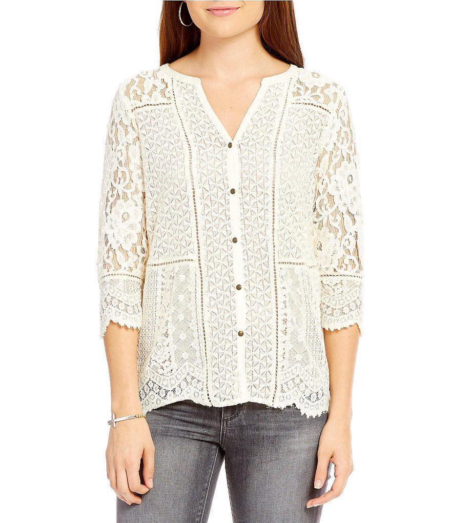 Lucky Brand Lace Mix 3/4 Sleeve Top