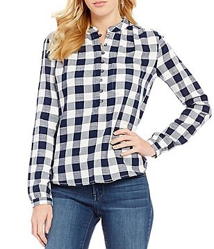 William Rast Anastasia Check High-Low Long-Sleeve Blouse