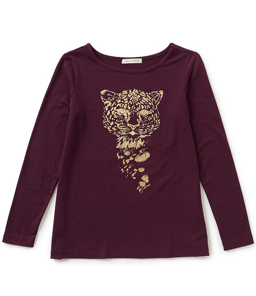 Copper Key Big Girls 7-16 Foiled Tiger Graphic Tee