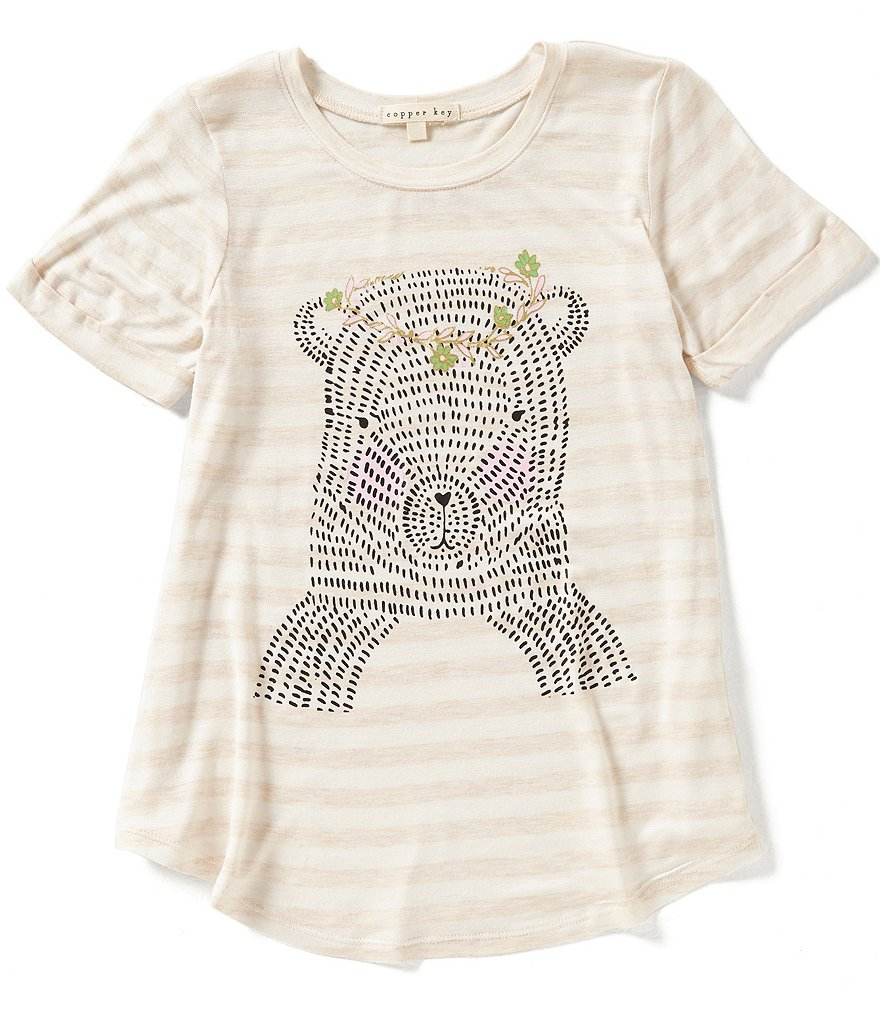 Copper Key Big Girls 7-16 Bear Screen Print Tee