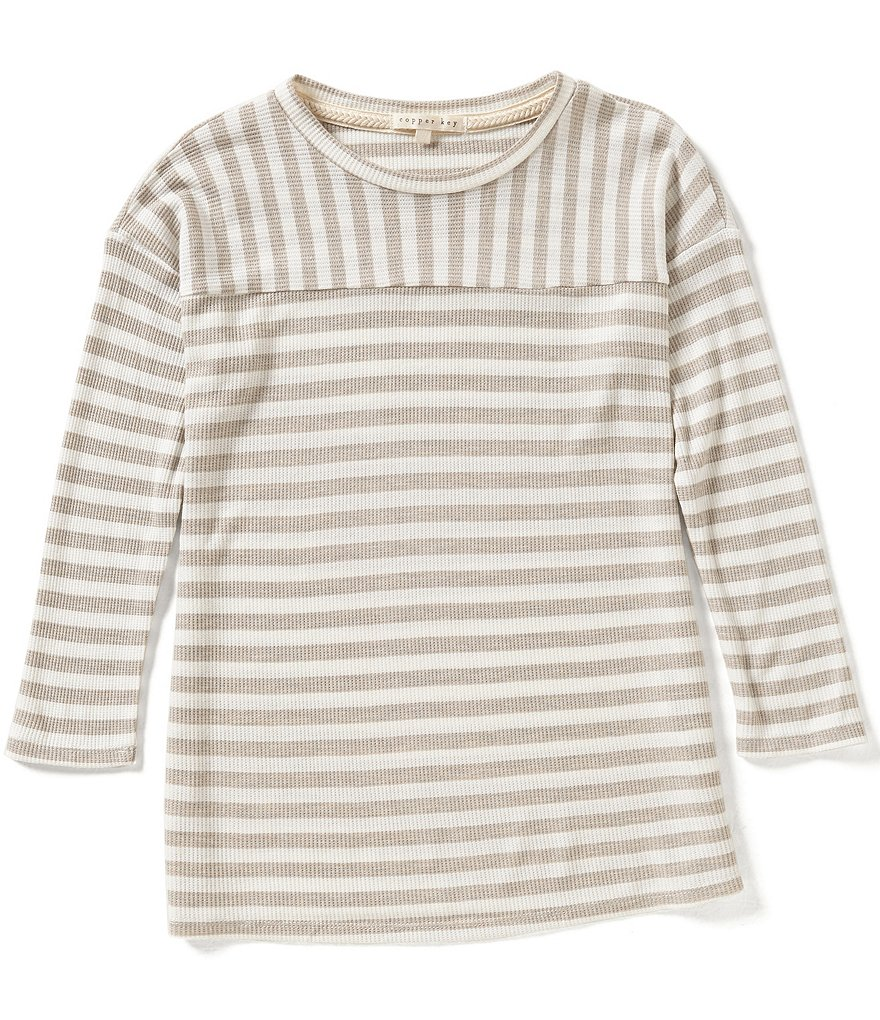 Copper Key Big Girls 7-16 Stripe Waffle Knit Top