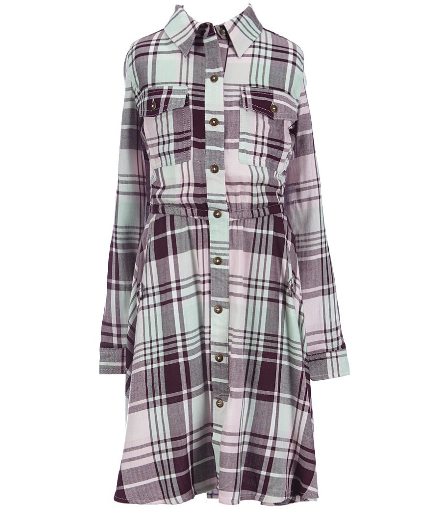 Copper Key Big Girls 7-16 Plaid Long-Sleeve High-Low Dress