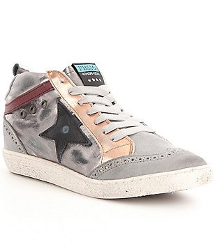 Freebird 516 High-Top Mixed Leather Lace-Up Side Star Detail Sneakers