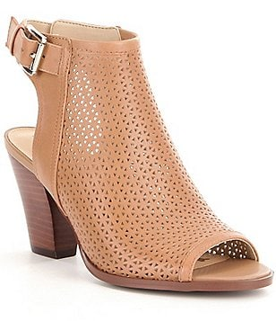 Sam Edelman Henri Perforated Buckle Peep-Toe Shooties