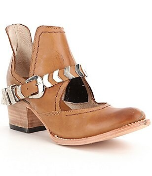 Freebird Blade Cutout Leather Buckle Harness Detail Block Heel Booties