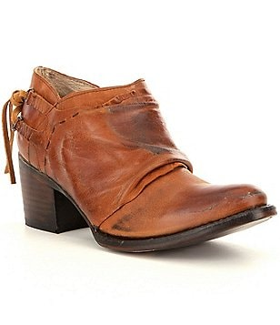Freebird Sandi Leather Scrunchy Block Heel Booties