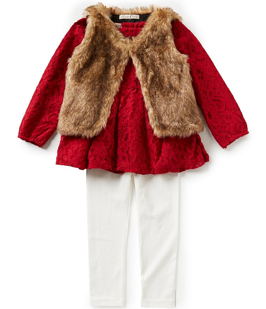 Copper Key Little Girls 2T-6X Lace Top, Faux-Fur Vest, and Leggings Set