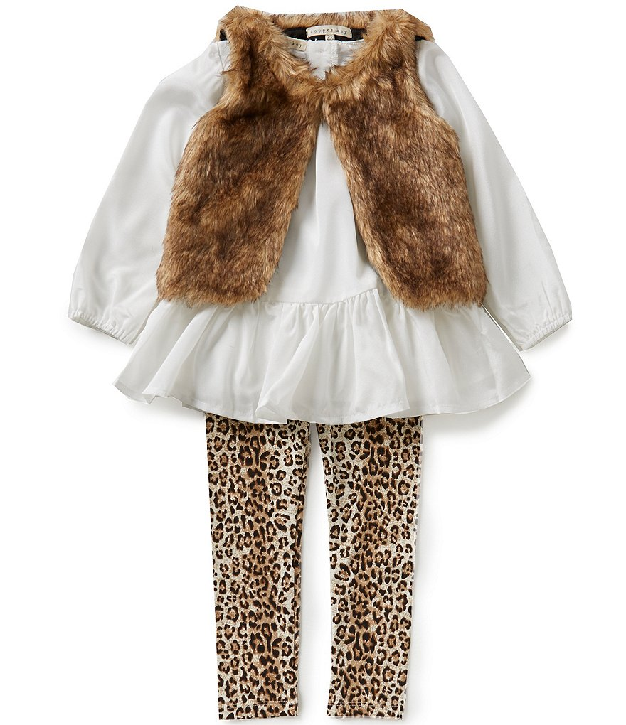 Copper Key Little Girls 2T-5 Faux-Fur Vest, Blouse, and Leopard-Print Leggings Set