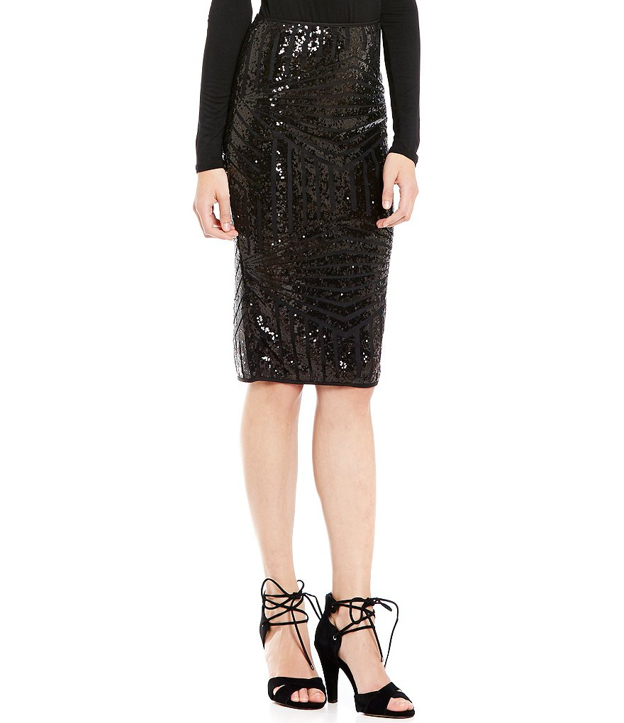 Soprano Sequin Mesh Pencil Skirt