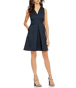 Armani Exchange Textured V-Neck Pleated Fit-And-Flare Solid Crepe Dress