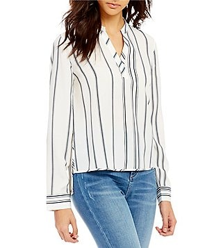 Armani Exchange Stripe Long Sleeve Split V-Neck Blouse