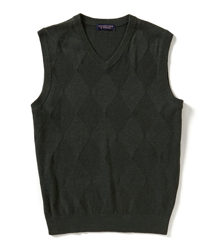Roundtree & Yorke Big & Tall Diamond Texture Sweater Vest
