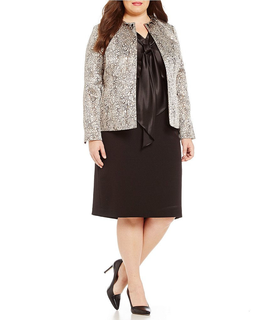 Kasper Plus Open Front Metallic Jacquard Jacket & Fit and Flare Knit Skirt