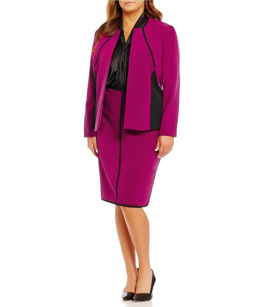 Kasper Plus Stretch Crepe Colorblock Open Front Jacket & Stretch Crepe Straight Skirt