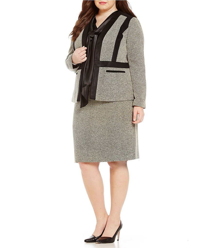 Kasper Plus Tweed Collarless Flyaway Jacket & Tweed Straight Skirt