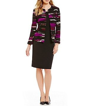 Kasper Printed Collarless Flyaway Jacket & Crepe Empire Sheath Dress