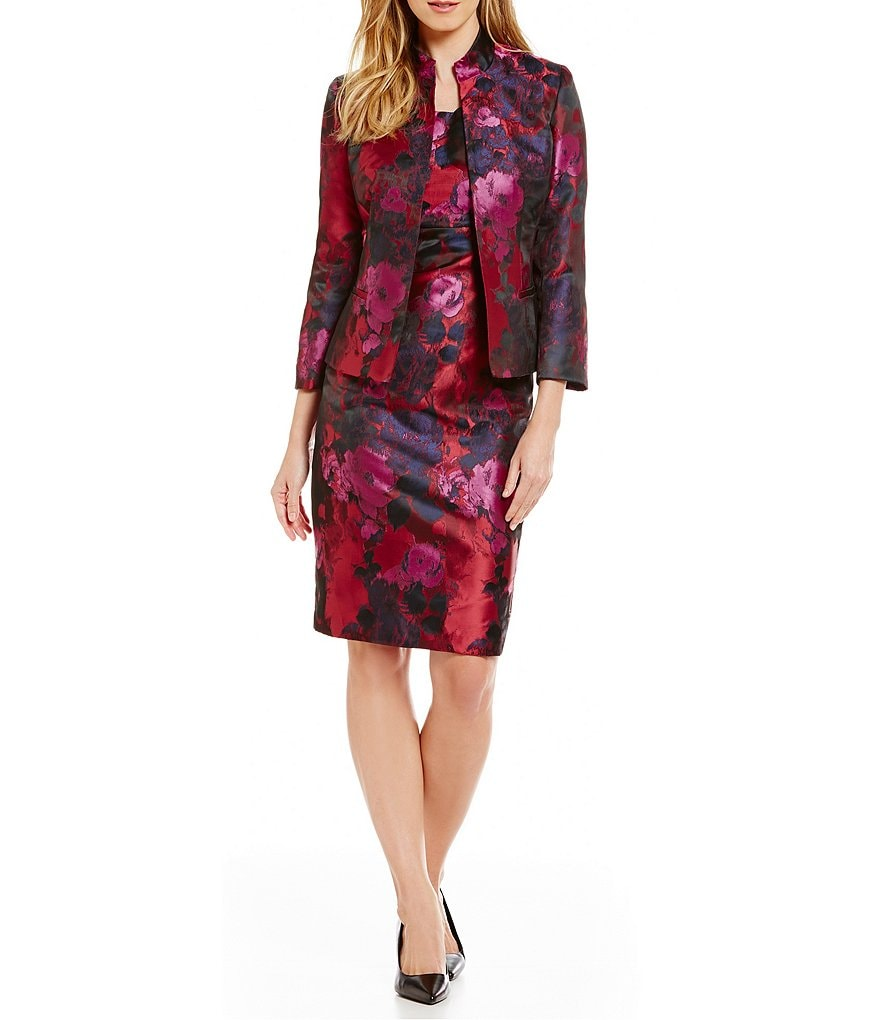 Kasper Floral Jacquard Open Jacket & Floral Jacquard Sheath Dress
