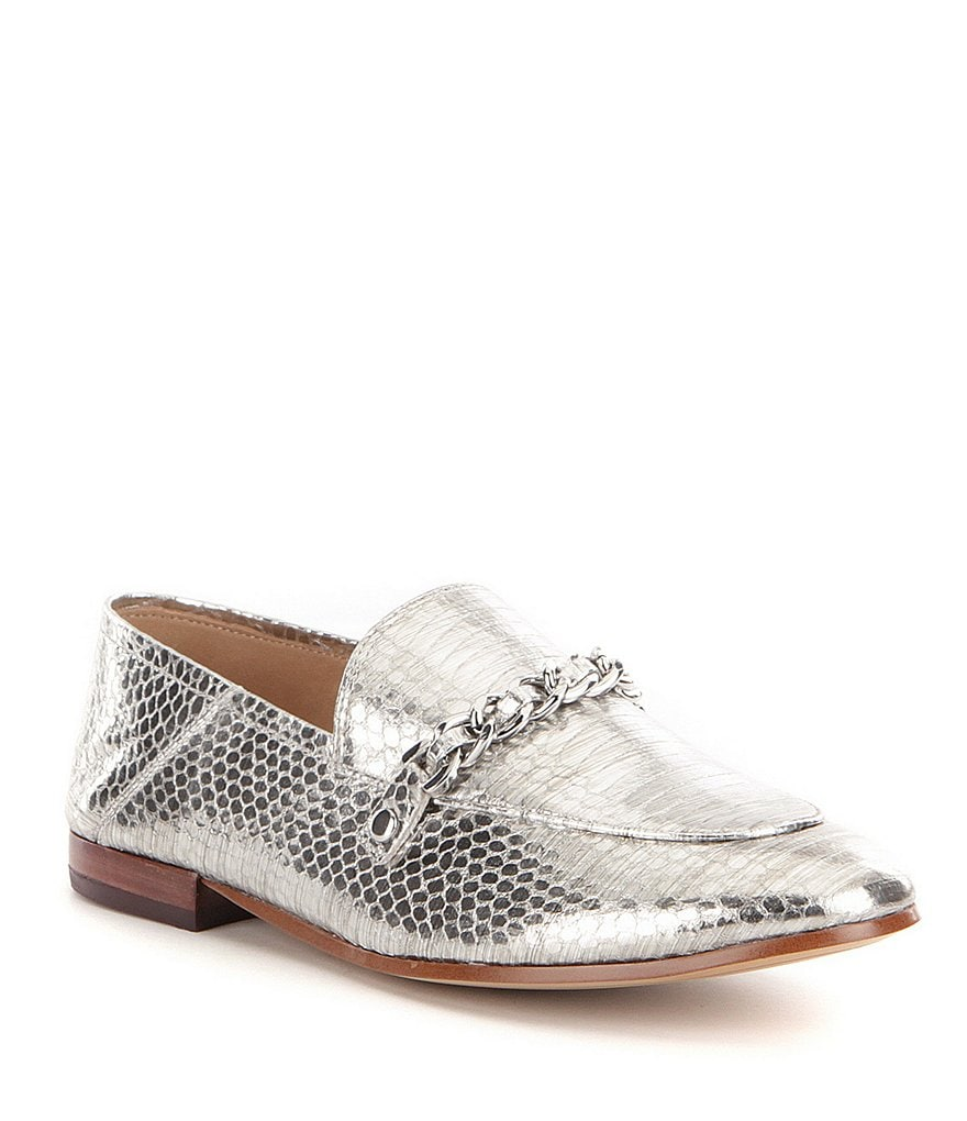 KARL LAGERFELD PARIS Elsa Metallic Snake Embossed Leather Silver Chain Slip-On 4 Loafers