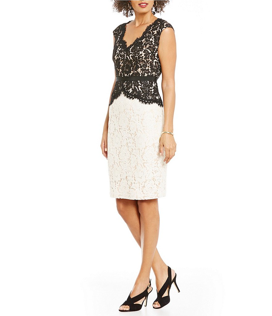 Eliza J Scallop Detail Lace Dress
