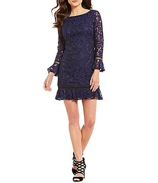 Eliza J Bell Sleeve Lace Ruffle Hem Dress