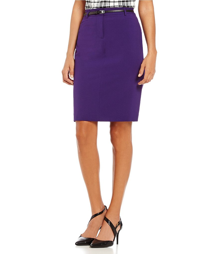 Calvin Klein Luxe Stretch Faux-Leather Belted Solid Pencil Skirt