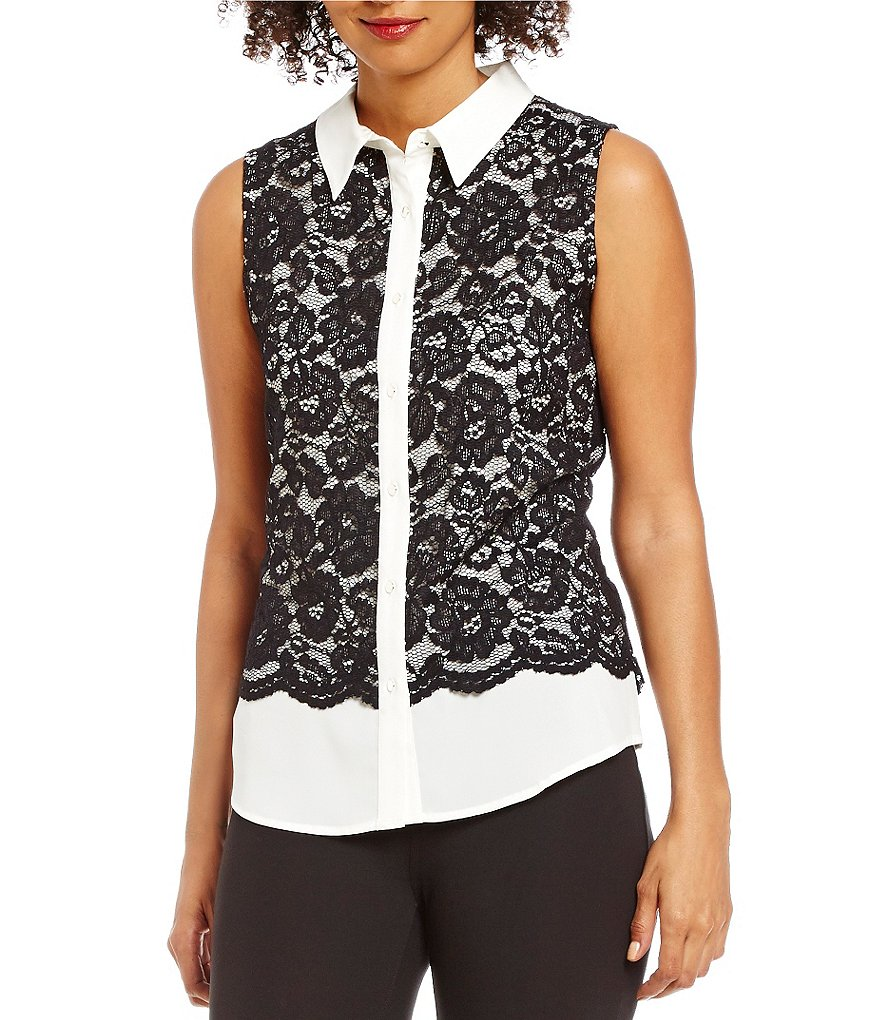 Calvin Klein Contrast Lace Front Sleeveless Top