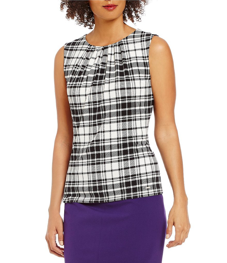 Calvin Klein Pleat Neck Plaid Print Matte Jersey Shell