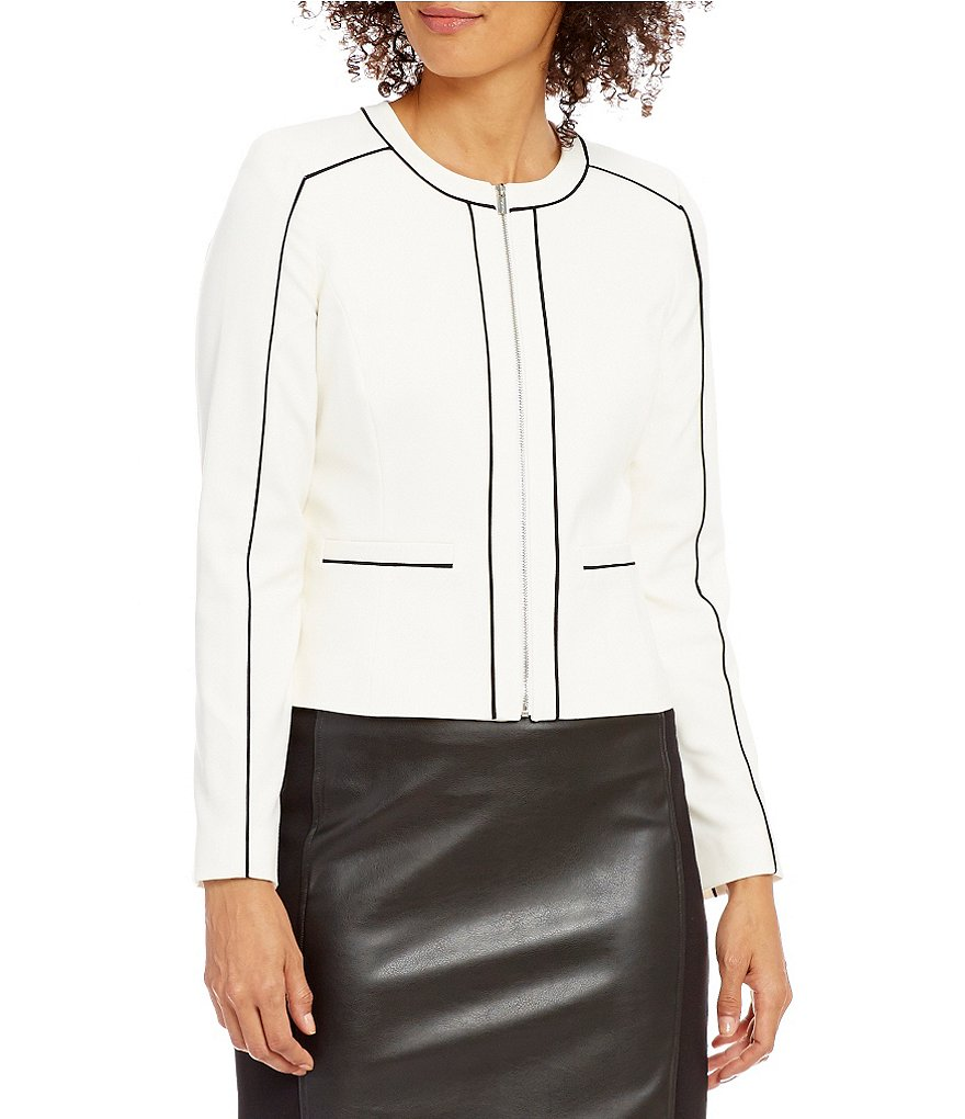 Calvin Klein Petites Luxe Stretch Pipe Trim Jacket