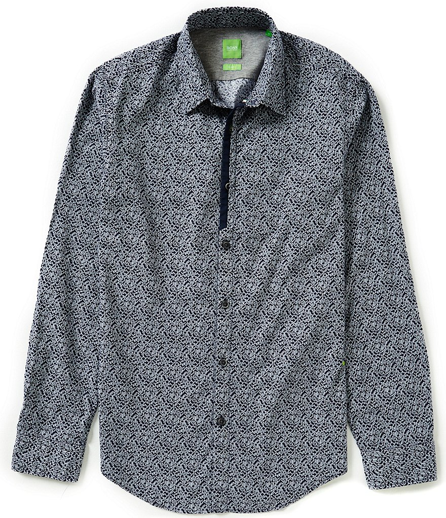 BOSS Green Berla Slim-Fit Printed Poplin Long-Sleeve Woven Shirt