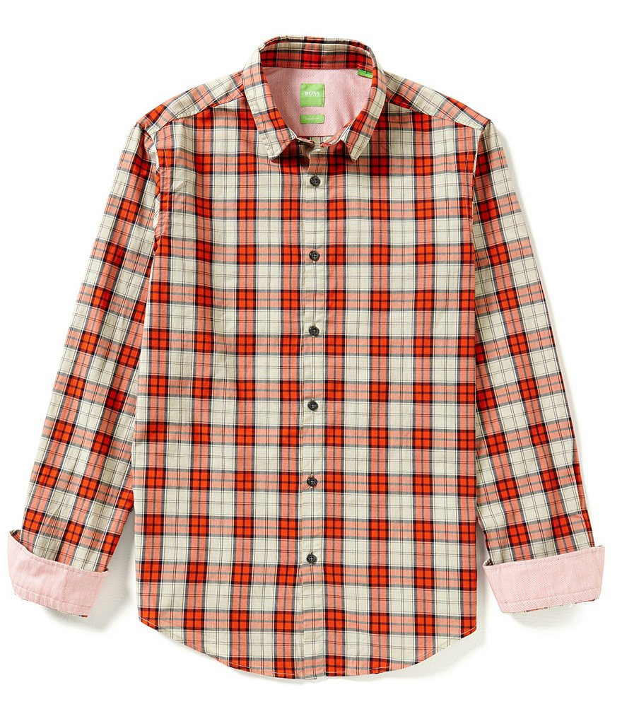 BOSS Green Briar Mélange Check Long-Sleeve Woven Shirt