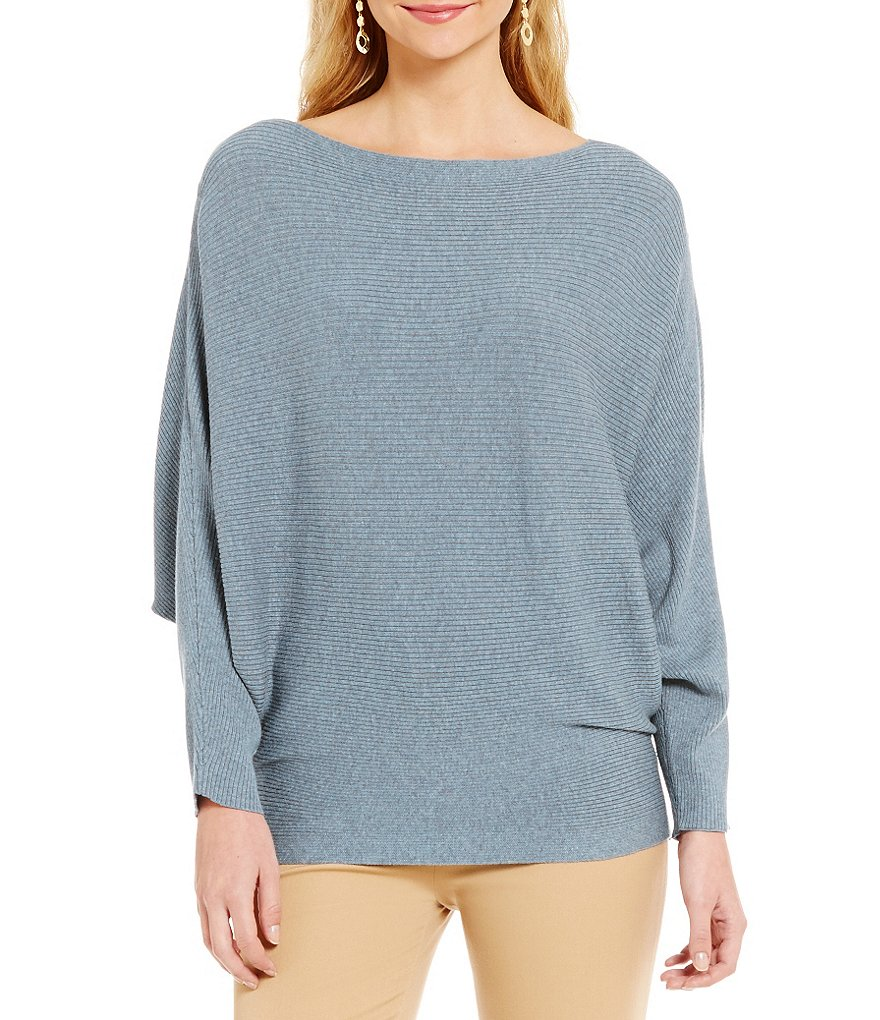 Lauren Ralph Lauren Cotton-Blend Fine Gauge Rib Knit Dolman Sleeve Sweater