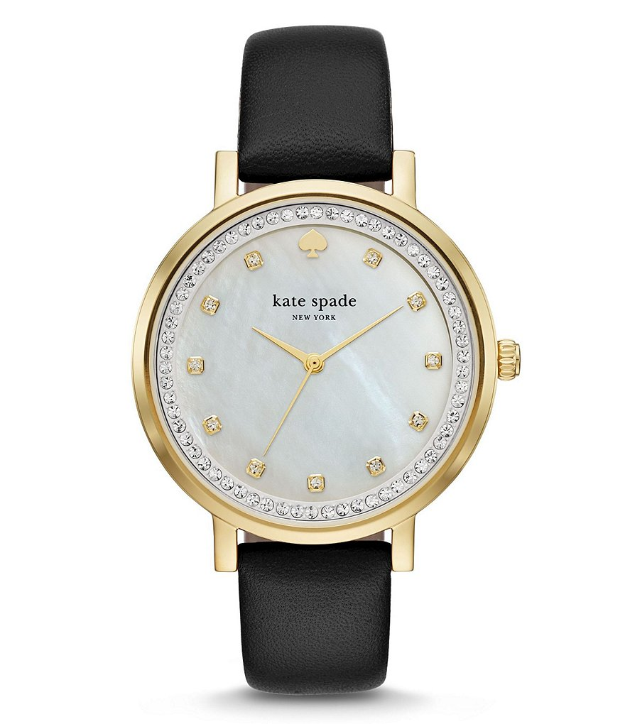 kate spade new york Monterey Mother-of-Pearl & Crystal Analog Leather-Strap Watch