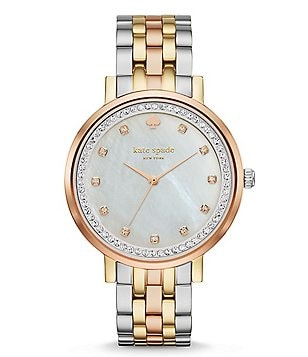 kate spade new york Monterey Tri-Tone Mother-of-Pearl & Crystal Analog Bracelet Watch