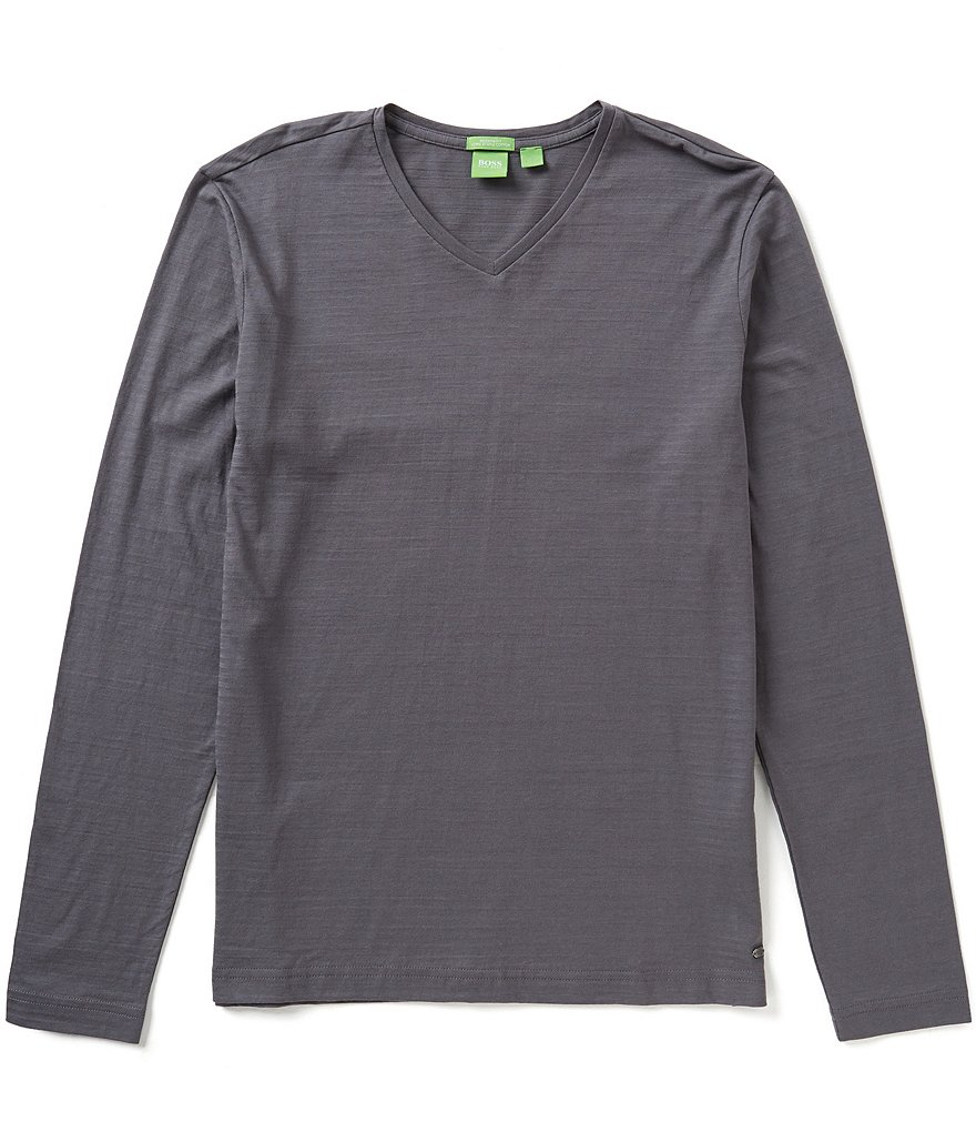 BOSS Green Vino Flame-Stripe Long-Sleeve V-Neck Tee