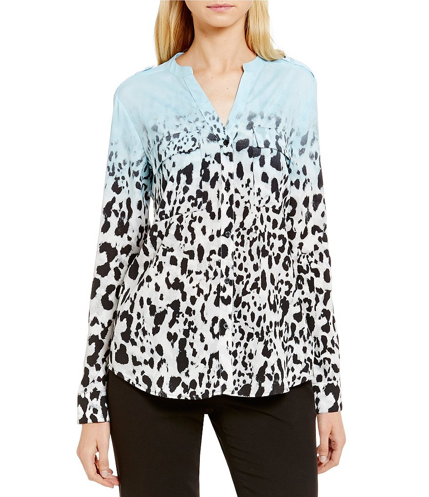 Calvin Klein Printed Roll-Tab Sleeve Band Collar Blouse