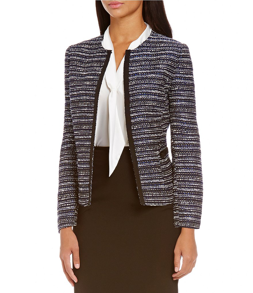 Tahari ASL Petite Striped Cardigan Jacket