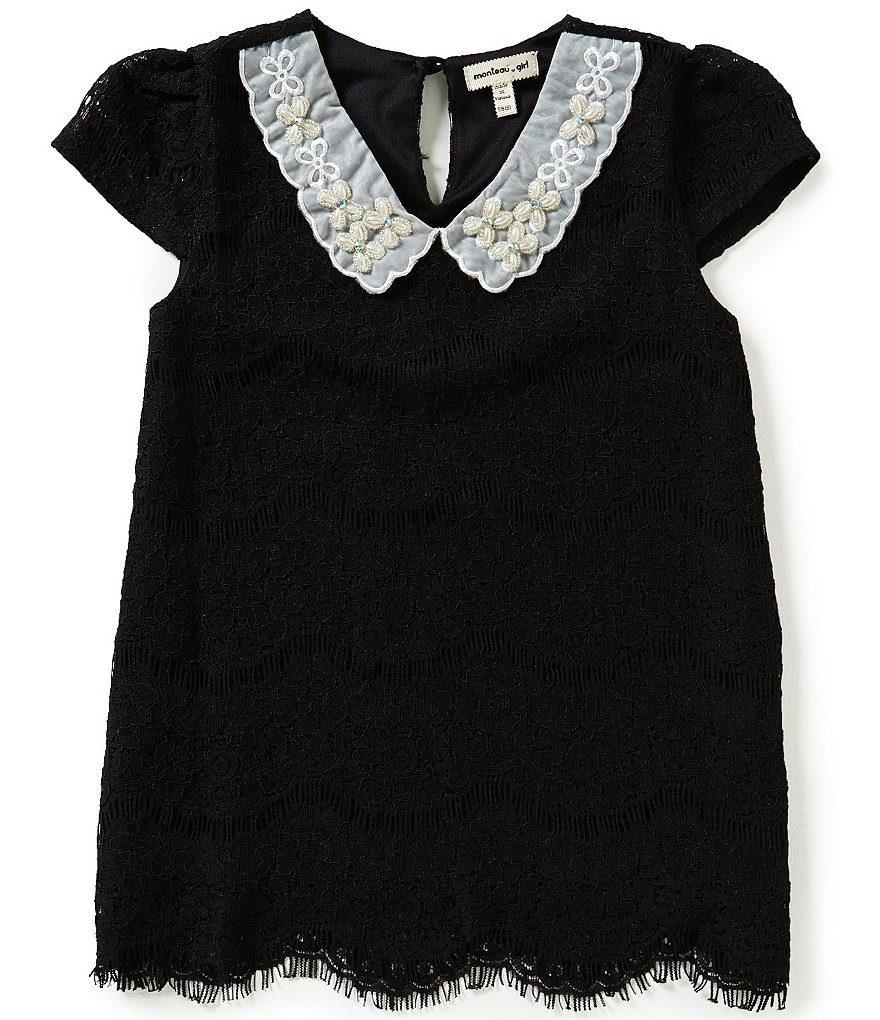 Monteau Girl Big Girls 7-16 Peter-Pan Beaded Collar Lace Top