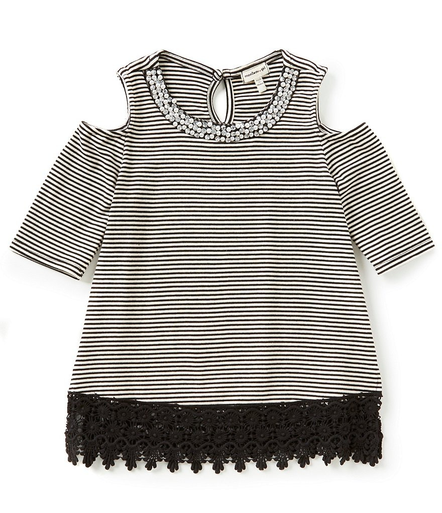 Monteau Girl Big Girls 7-16 Striped Cold-Shoulder Crochet Top